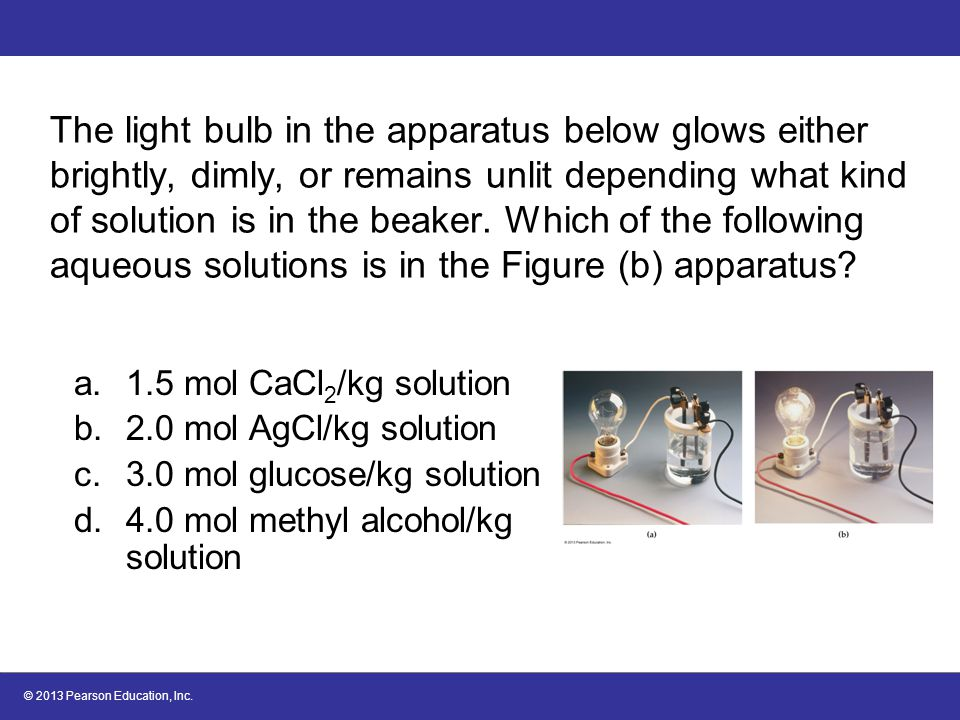 The light bulb in the apparatus below glows either brightly, dimly, or remains unlit depending what kind of solution is in the beaker. Which of the following aqueous solutions is in the Figure (b) apparatus