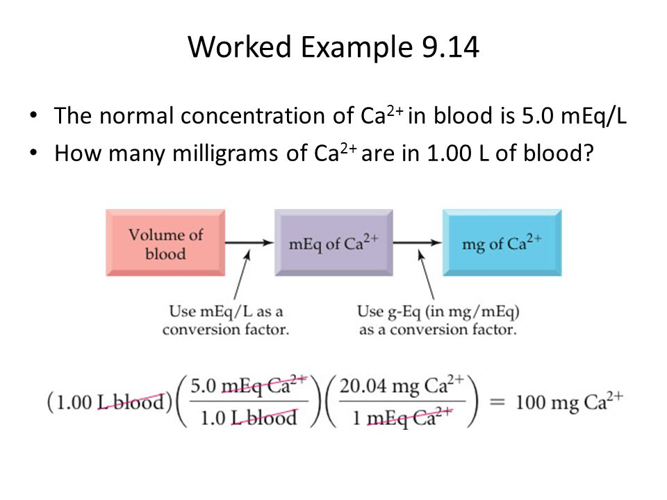 Worked Example 9.14 The normal concentration of Ca2+ in blood is 5.0 mEq/L.