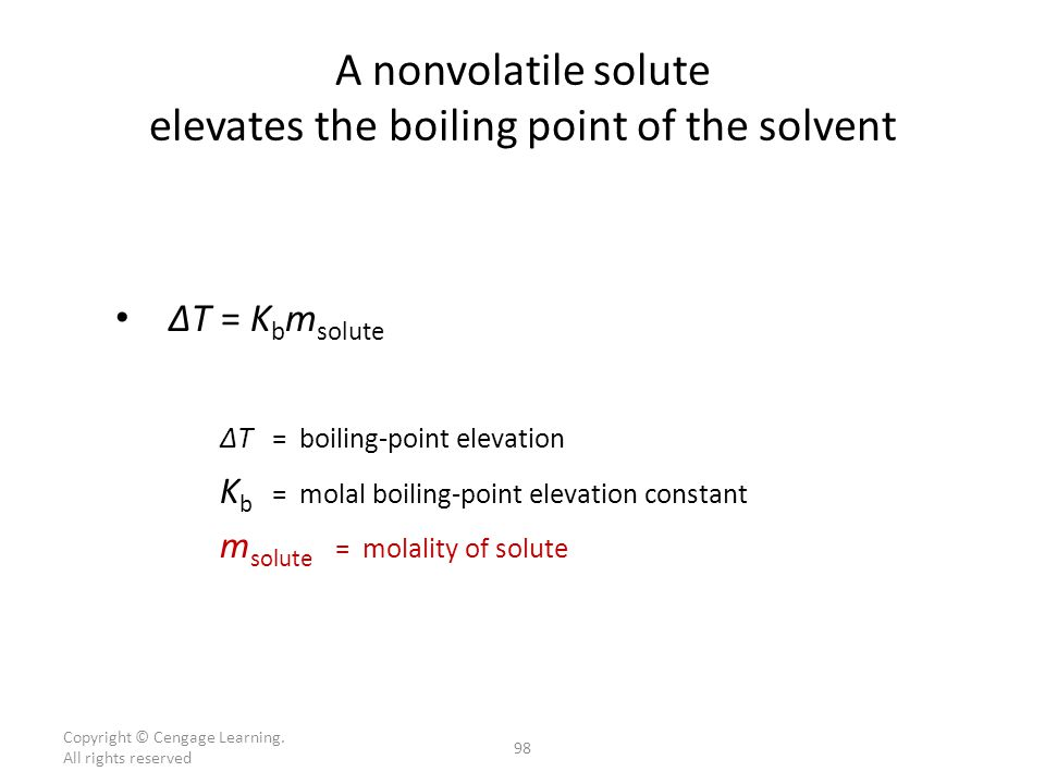 A nonvolatile solute elevates the boiling point of the solvent