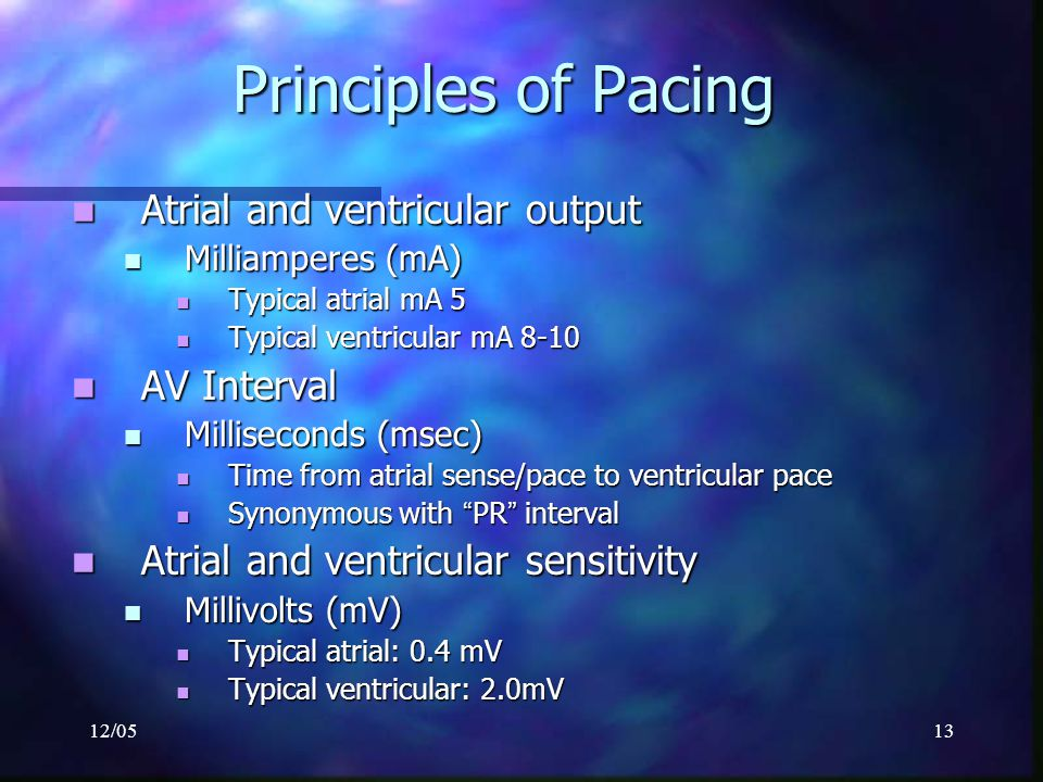 Principles of Pacing Atrial and ventricular output AV Interval