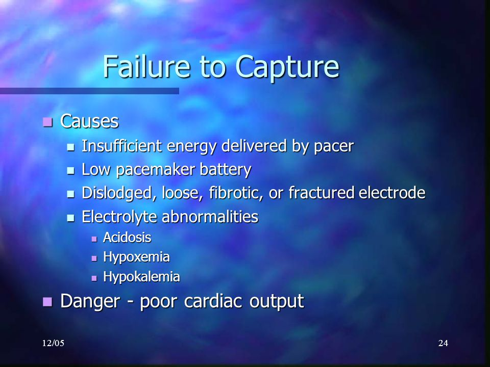 Failure to Capture Causes Danger - poor cardiac output