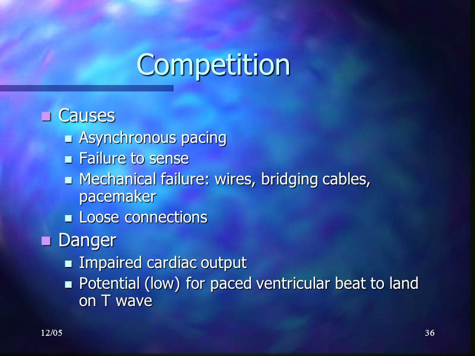Competition Causes Danger Asynchronous pacing Failure to sense