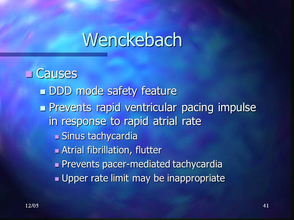 Wenckebach Causes DDD mode safety feature