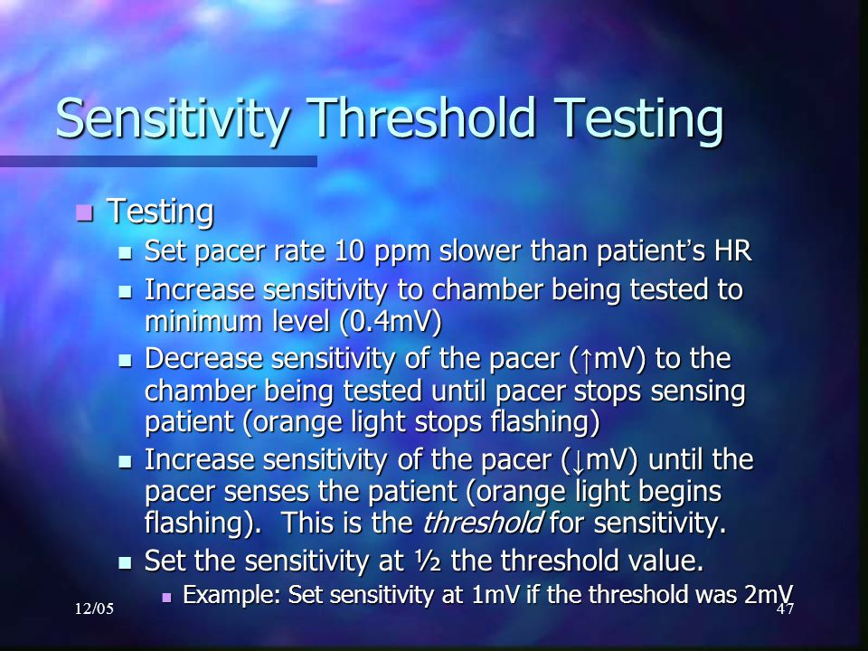 Sensitivity Threshold Testing