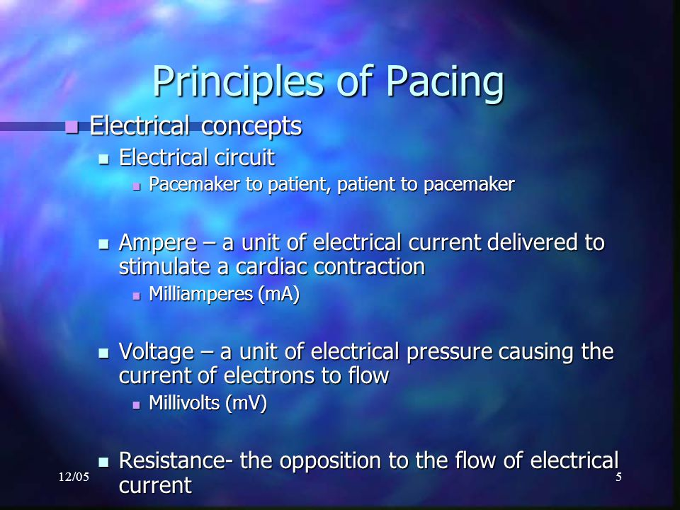 Principles of Pacing Electrical concepts Electrical circuit