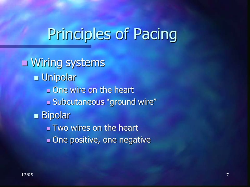 Principles of Pacing Wiring systems Unipolar Bipolar