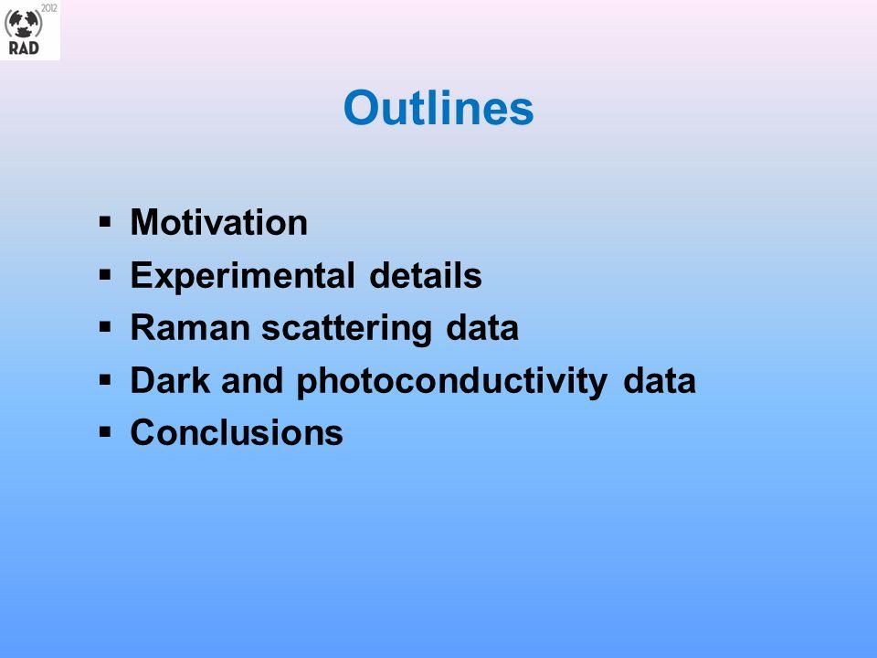 Outlines Motivation Experimental details Raman scattering data