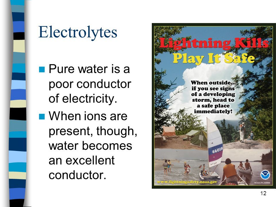 Electrolytes Pure water is a poor conductor of electricity.
