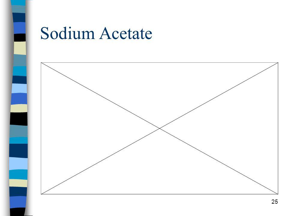 Sodium Acetate 46g/100mL @ 20C, 139g/100mL @ 60C, and 170g/100mL @ 100C.