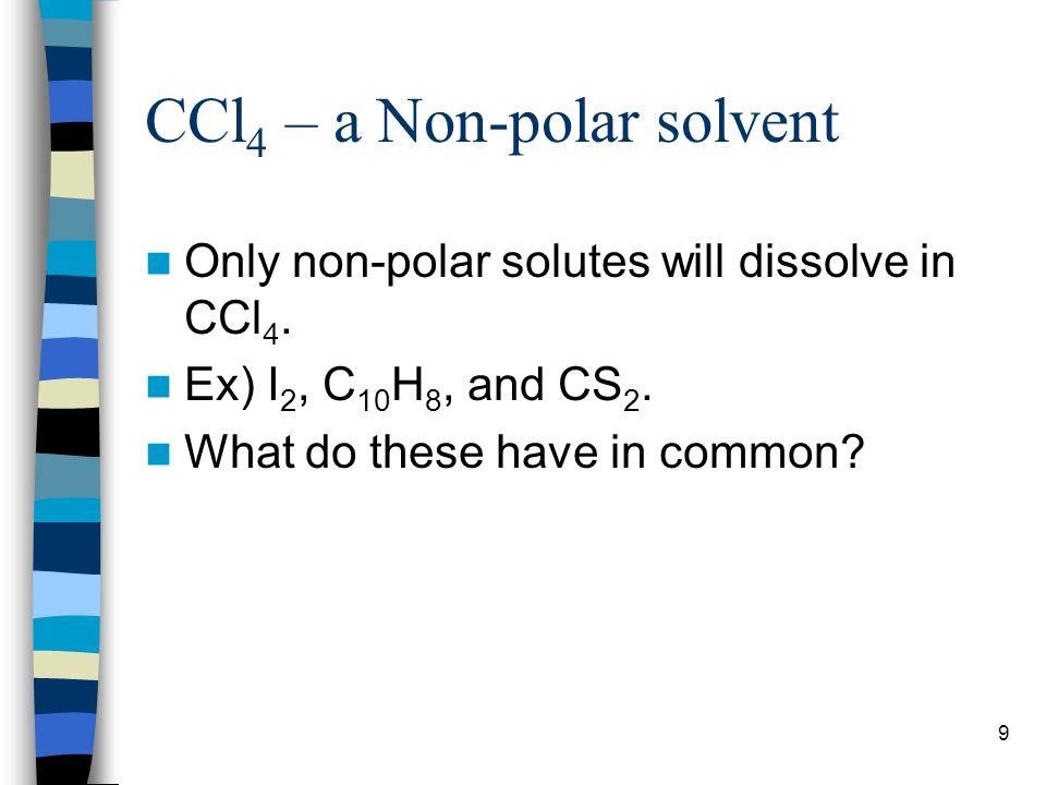 CCl4 – a Non-polar solvent