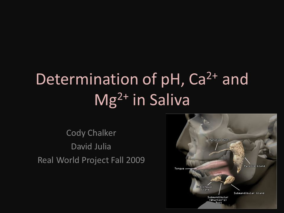 Determination of pH, Ca2+ and Mg2+ in Saliva