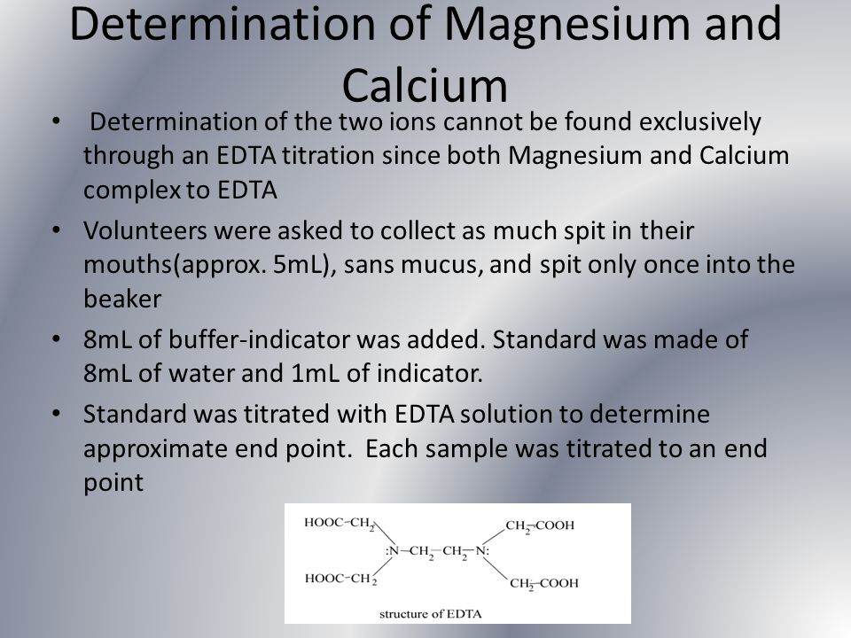 Determination of Magnesium and Calcium