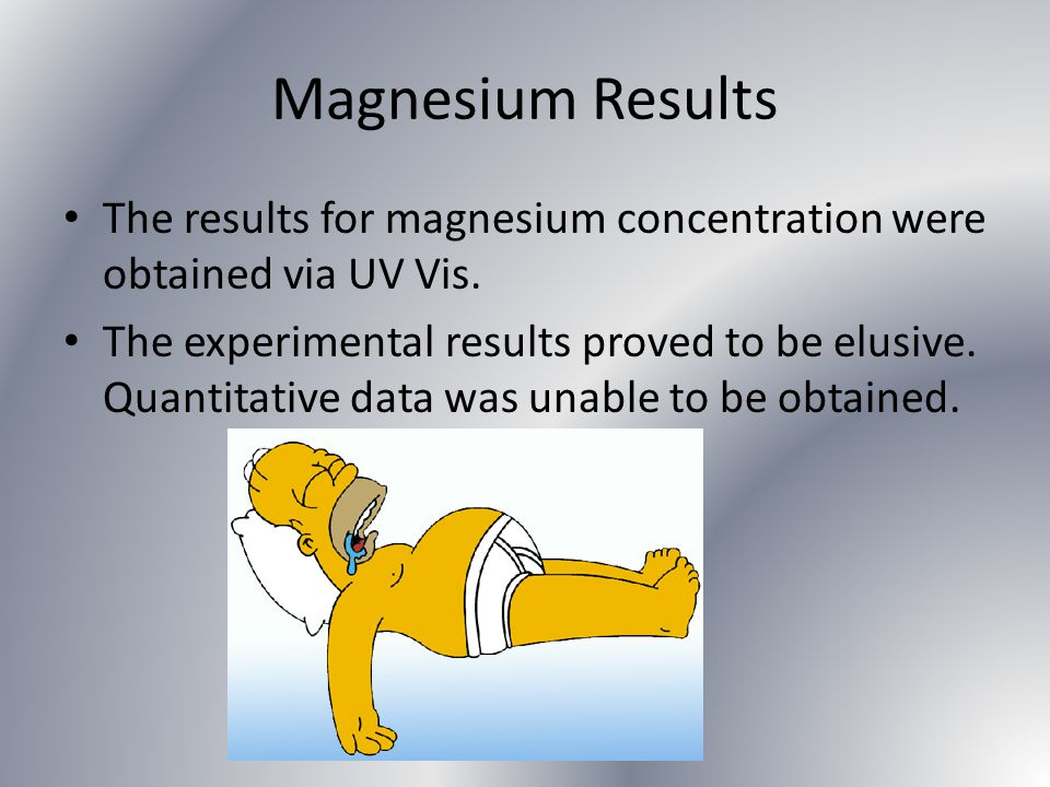 Magnesium Results The results for magnesium concentration were obtained via UV Vis.