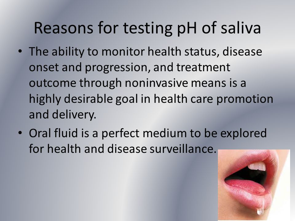 Reasons for testing pH of saliva