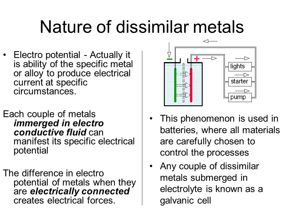 Nature of dissimilar metals