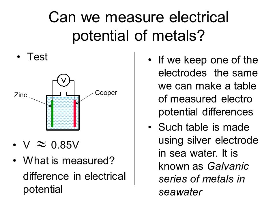 Can we measure electrical potential of metals