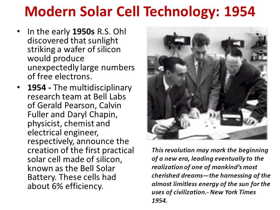 Modern Solar Cell Technology: 1954