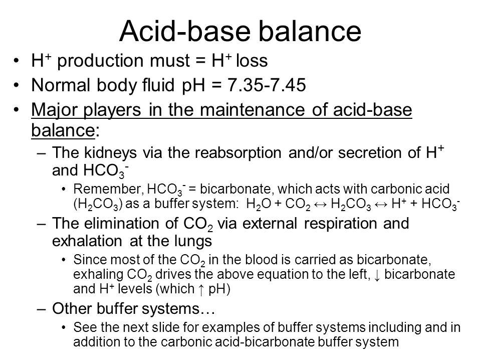 Acid-base balance H+ production must = H+ loss