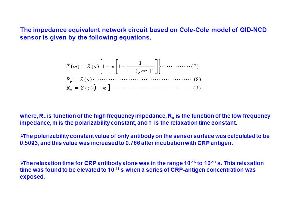 The impedance equivalent network circuit based on Cole-Cole model of GID-NCD sensor is given by the following equations,