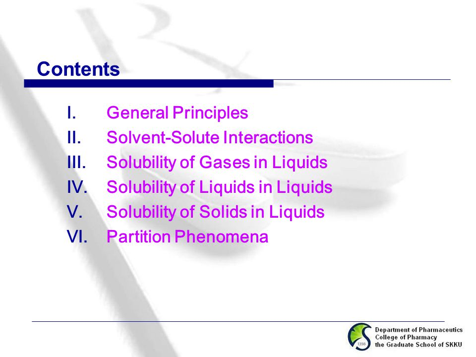 Contents General Principles Solvent-Solute Interactions