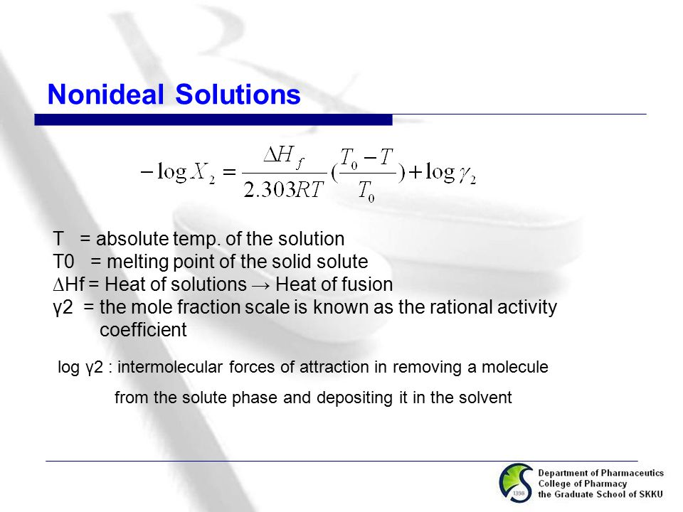 Nonideal Solutions T = absolute temp. of the solution