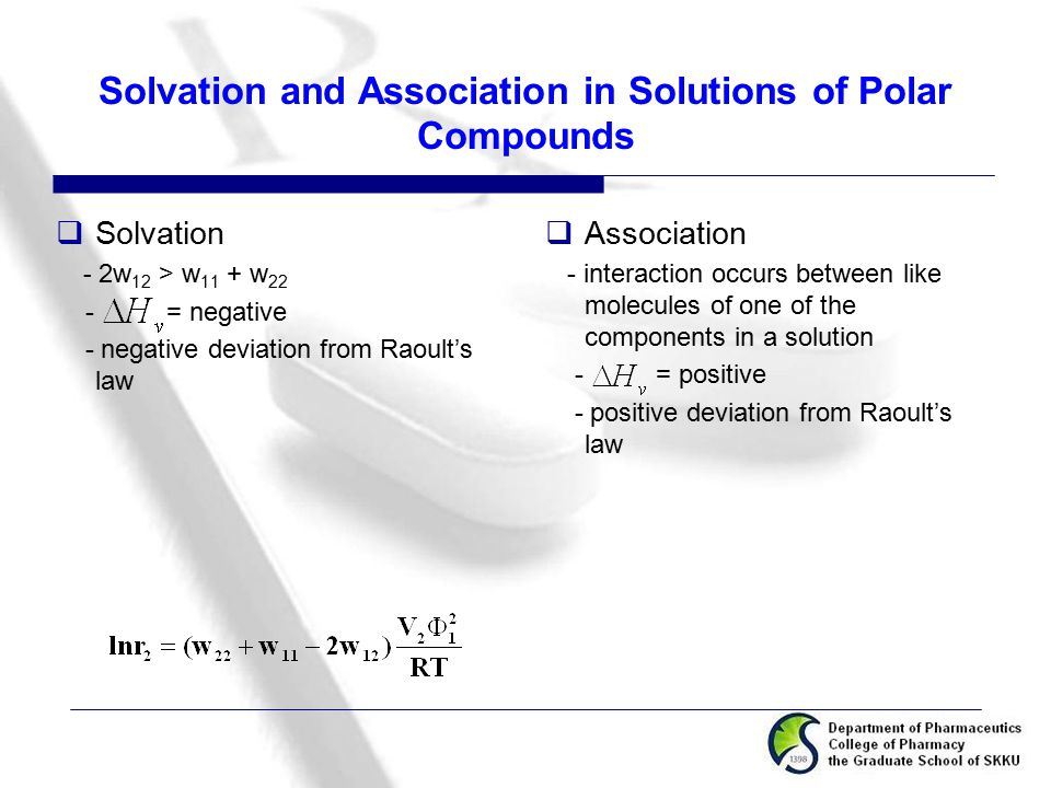 Solvation and Association in Solutions of Polar Compounds