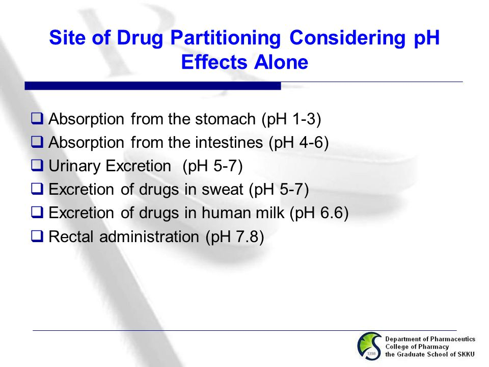 Site of Drug Partitioning Considering pH Effects Alone