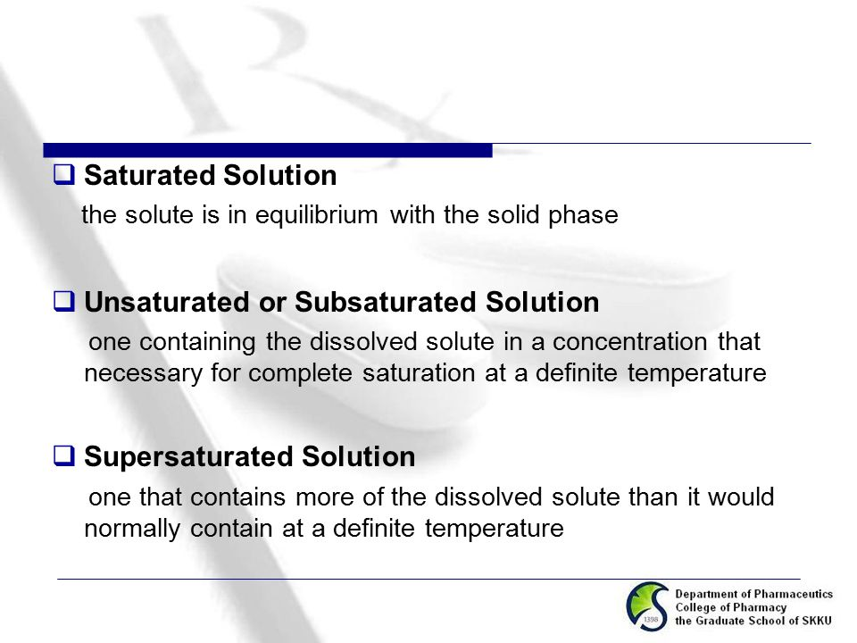 Unsaturated or Subsaturated Solution