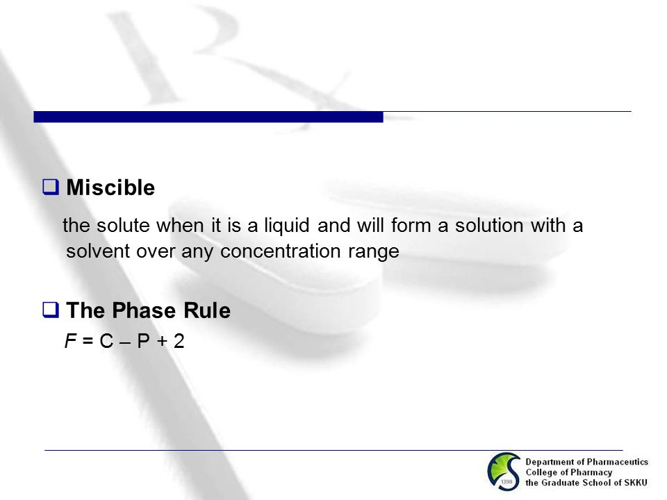 Miscible the solute when it is a liquid and will form a solution with a solvent over any concentration range.