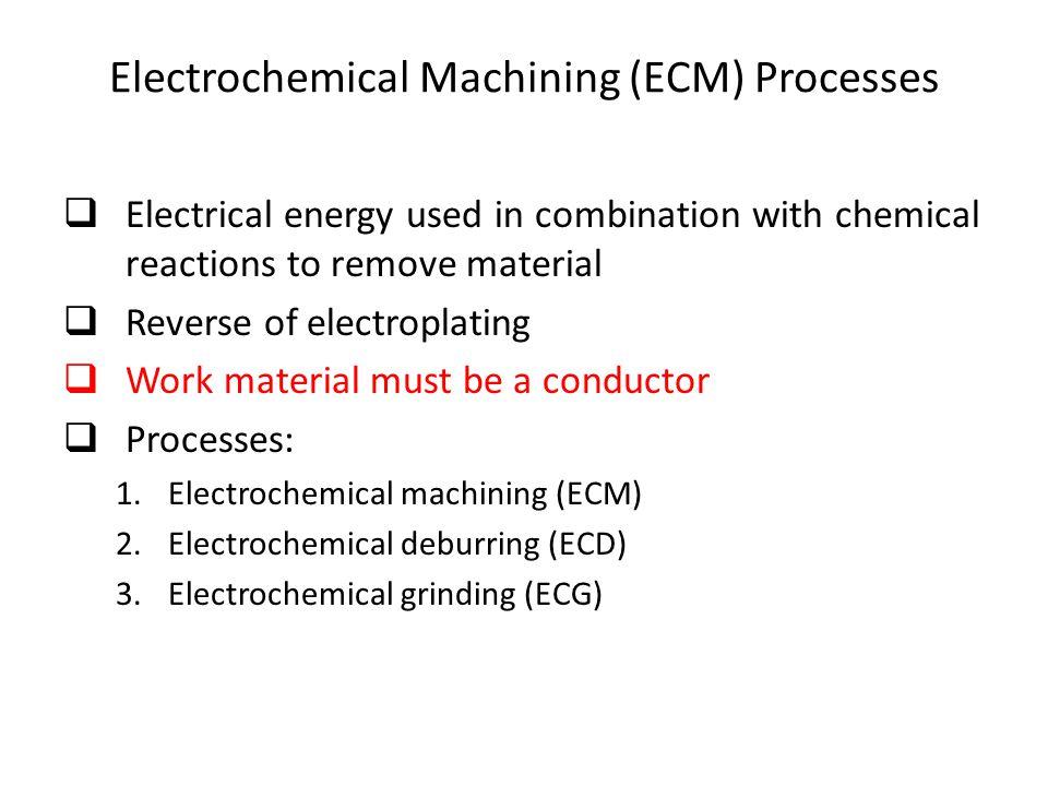 Electrochemical Machining (ECM) Processes