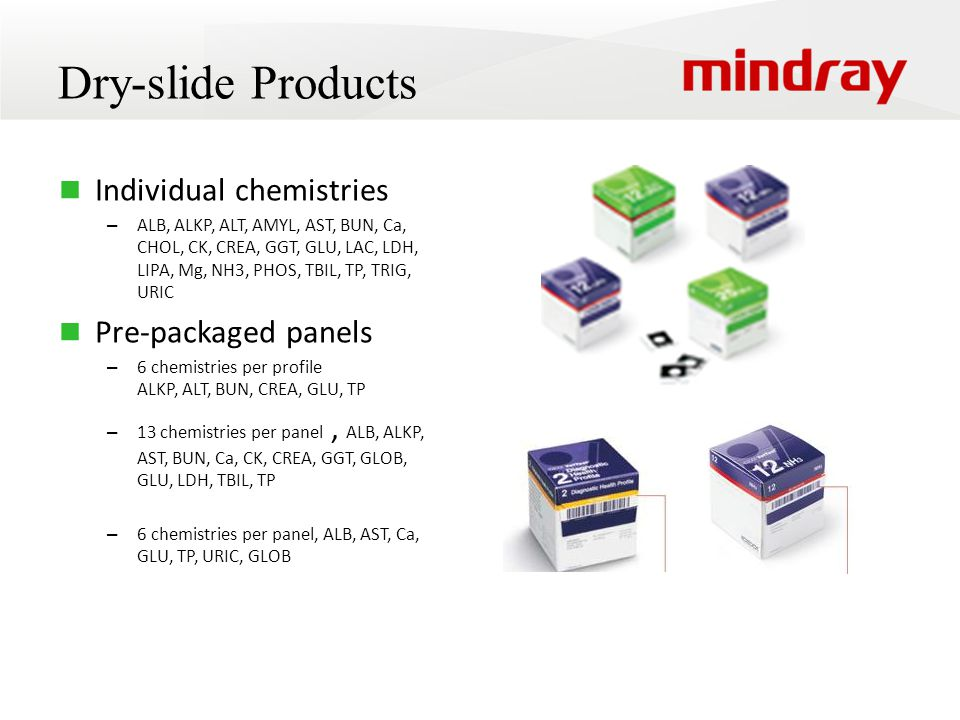 Dry-slide Products Individual chemistries Pre-packaged panels
