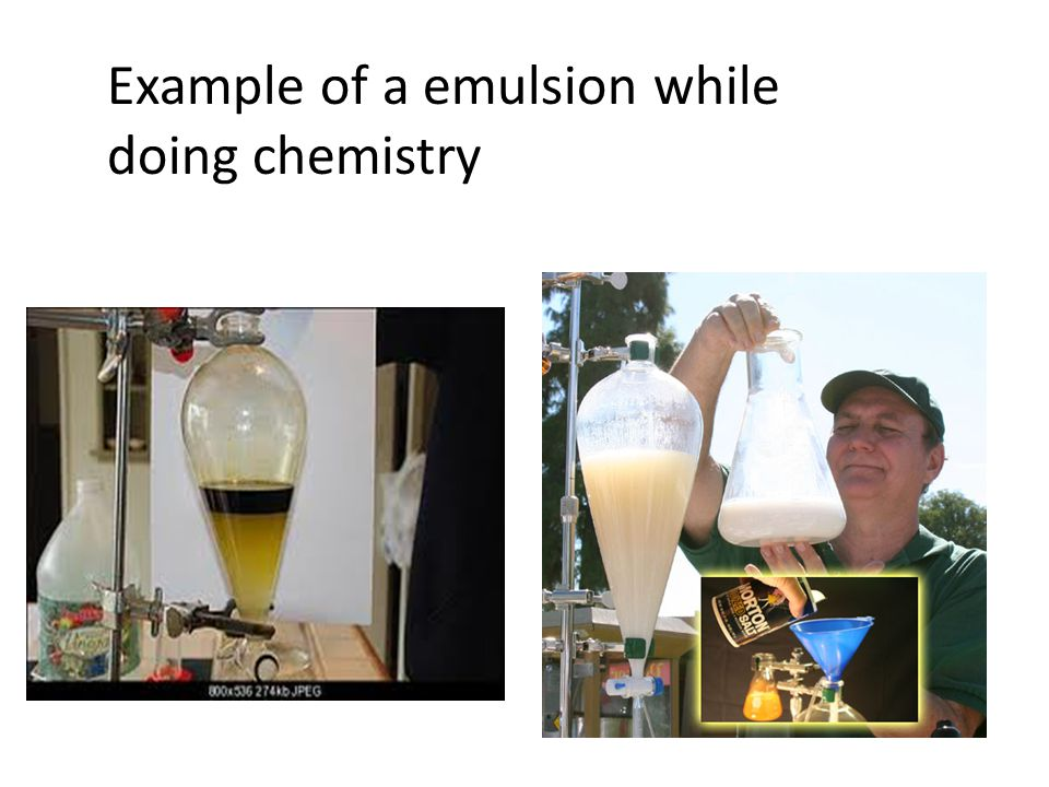 Example of a emulsion while doing chemistry