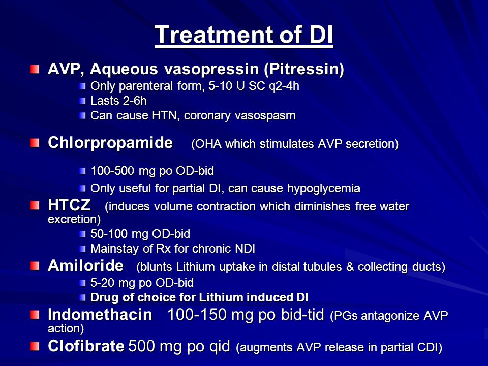 Treatment of DI AVP, Aqueous vasopressin (Pitressin)