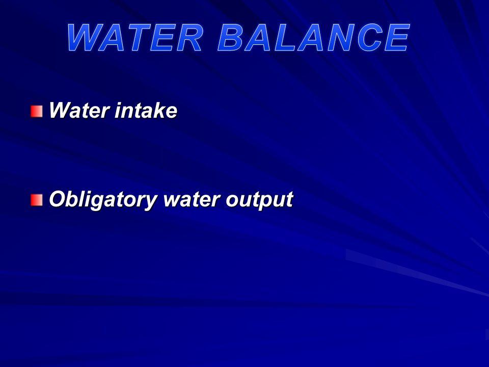 WATER BALANCE Water intake Obligatory water output