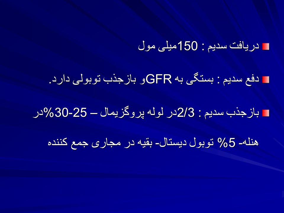 دریافت سدیم : 150میلی مول دفع سدیم : بستگی به GFRو بازجذب توبولی دارد.
