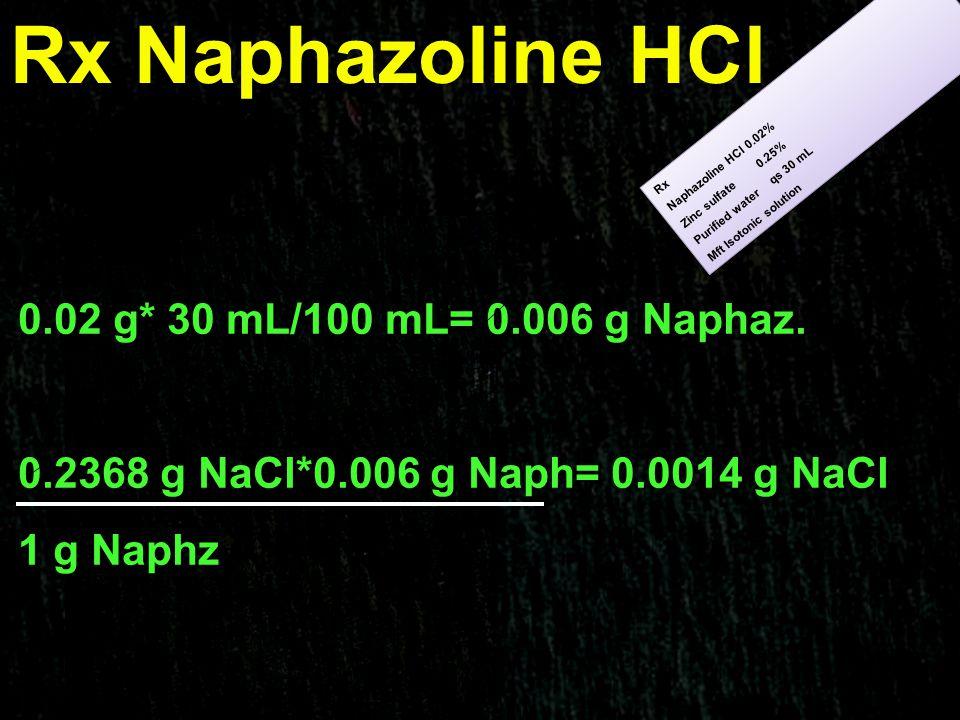 Rx Naphazoline HCl 0.02 g* 30 mL/100 mL= 0.006 g Naphaz.