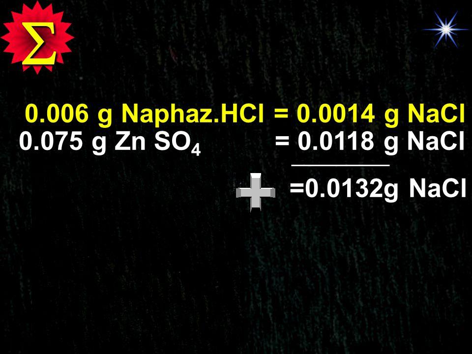  0.006 g Naphaz.HCl = 0.0014 g NaCl 0.075 g Zn SO4 = 0.0118 g NaCl