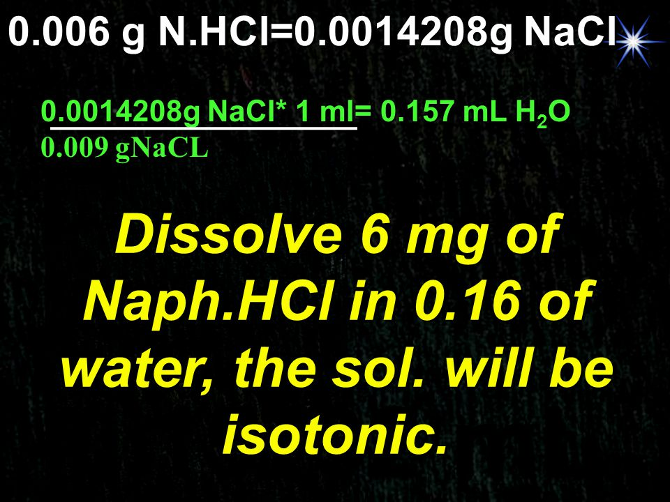 Dissolve 6 mg of Naph.HCl in 0.16 of water, the sol. will be isotonic.