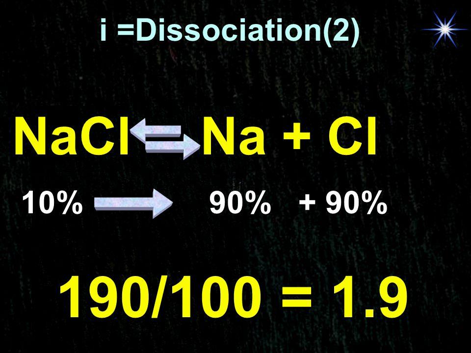 A- i =Dissociation(2) NaCl Na + Cl 10% 90% + 90% 190/100 = 1.9