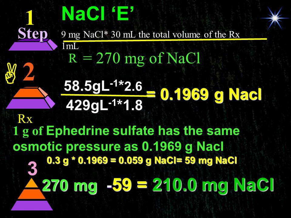  2  1 NaCl 'E' 3  Step = 270 mg of NaCl = 0.1969 g Nacl