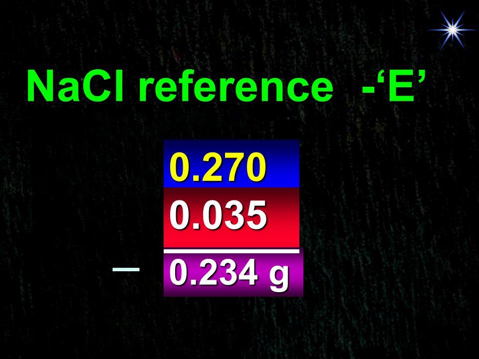 NaCl reference -'E' 0.270 g 0.035 g 0.234 g