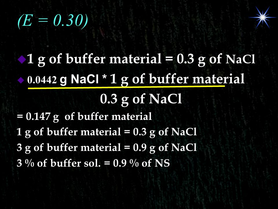 (E = 0.30) 1 g of buffer material = 0.3 g of NaCl 0.3 g of NaCl