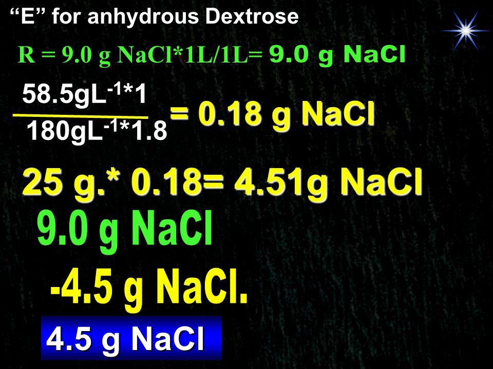 25 g.* 0.18= 4.51g NaCl = 0.18 g NaCl 4.5 g NaCl 58.5gL-1*1