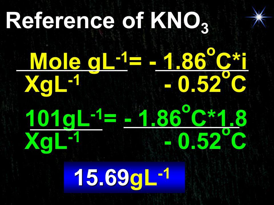Reference of KNO3 Mole gL-1= - 1.86oC*i. XgL-1 - 0.52oC. 101gL-1= - 1.86oC*1.8. XgL-1 - 0.52oC.