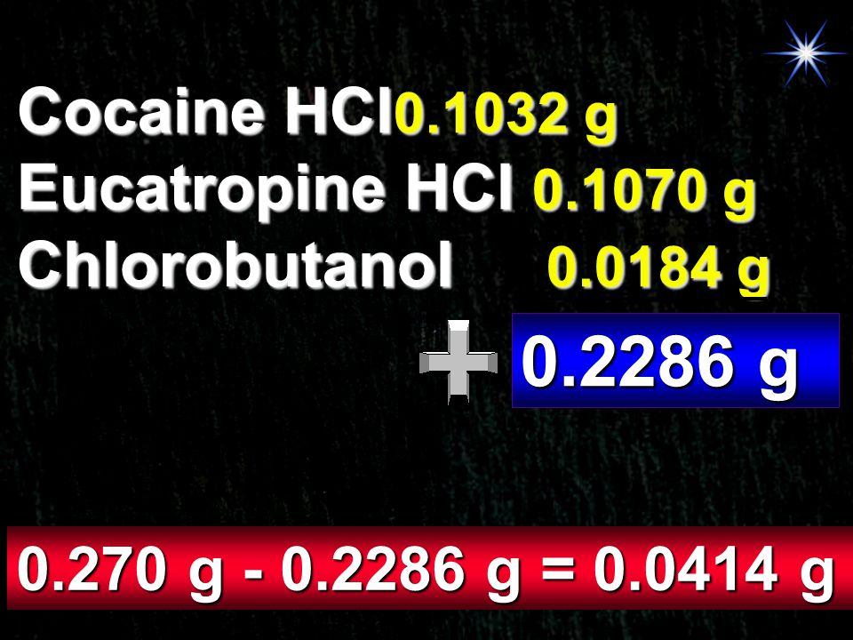 Cocaine HCl0.1032 g Eucatropine HCl 0.1070 g Chlorobutanol 0.0184 g