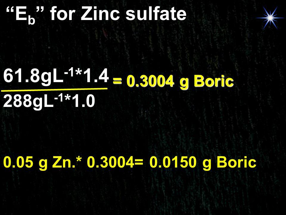 Eb for Zinc sulfate 61.8gL-1*1.4 288gL-1*1.0 = 0.3004 g Boric