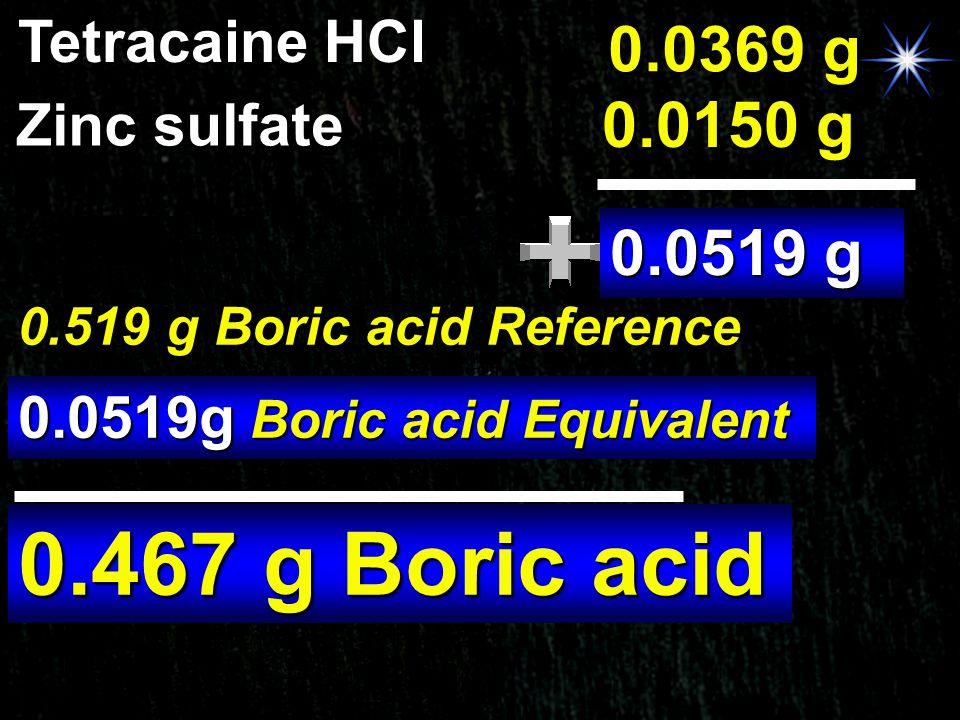 0.467 g Boric acid 0.0369 g 0.0150 g 0.0519 g Tetracaine HCl
