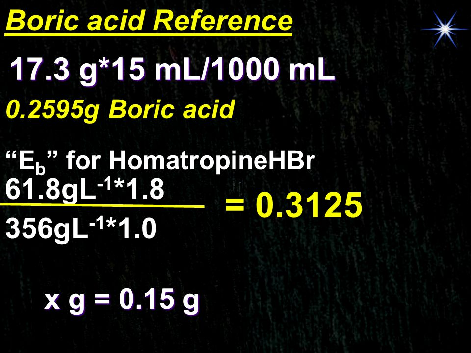 = 0.3125 17.3 g*15 mL/1000 mL Boric acid Reference 61.8gL-1*1.8