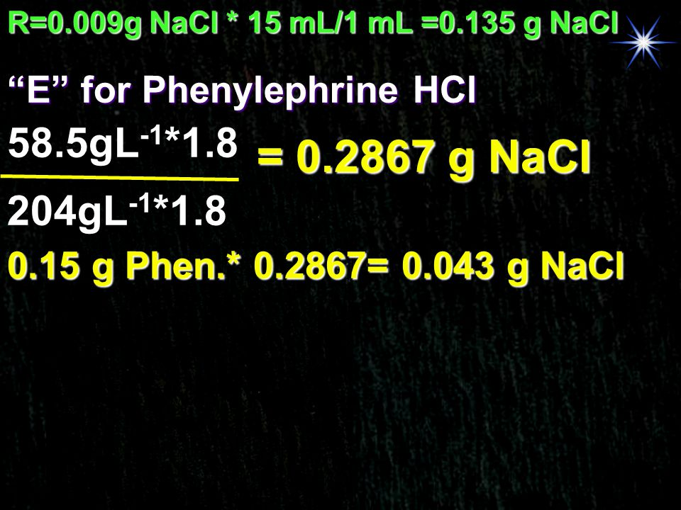 = 0.2867 g NaCl 58.5gL-1*1.8 204gL-1*1.8 E for Phenylephrine HCl