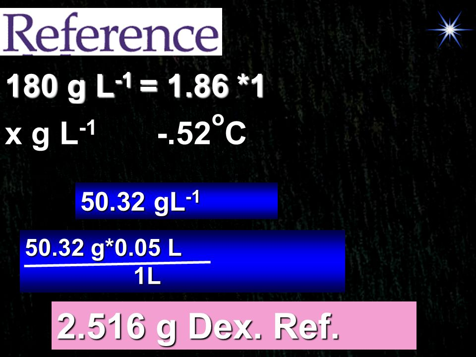 2.516 g Dex. Ref. 180 g L-1 = 1.86 *1 x g L-1 -.52oC 50.32 gL-1